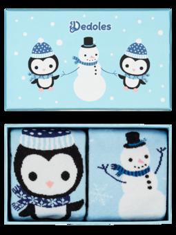 Darčeková krabička teplých ponožiek Tučniak a snehuliak