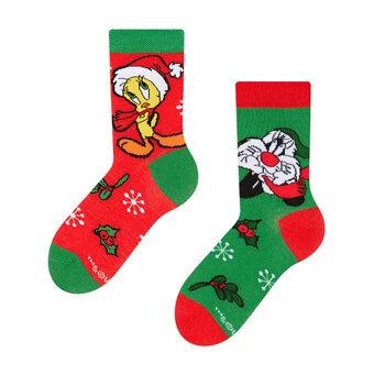 Lustige Kindersocken Looney Tunes ™ Sylvester und Tweety Weihnachten