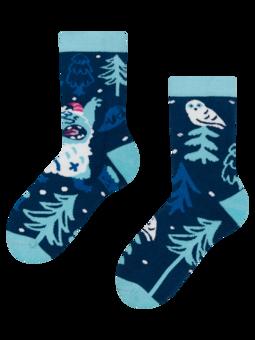 Calcetines infantiles alegres de inverno Yeti del bosque