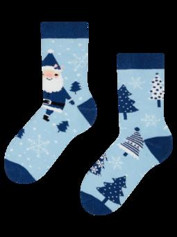 Veselé detské teplé ponožky Santa v modrom