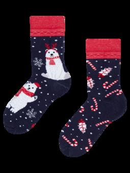Detské veselé teplé ponožky Vianočný polárny medveď