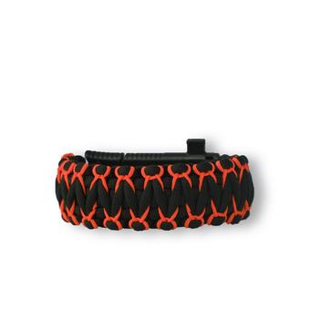 Bracelet en paracorde noir et orange Warrior avec couteau, allume-feu, boussole et sifflet