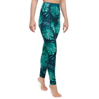 Vrolijke high-waisted leggings Monstera