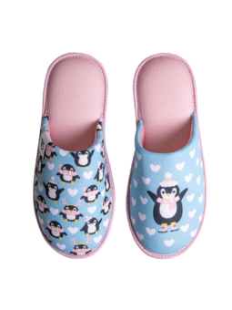 Lustige Hausschuhe Eislaufender Pinguin