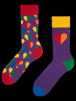 Lustige Socken Regenbogenherzen