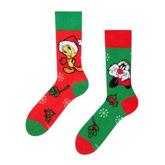 Chaussettes rigolotes Looney Tunes™ Célébration de Noël par Sylvestre et Tweety