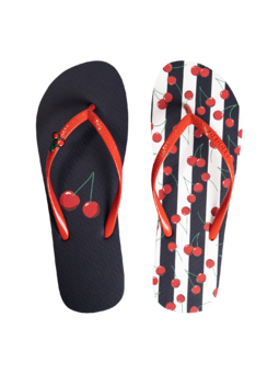 Flip Flops with Decoration Charm Cherries