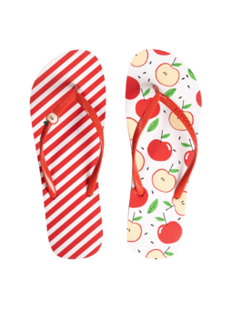 Flip Flops with Decoration Charm Happy Apple