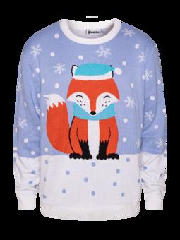 Wesoły sweter świąteczny Zimowy lis
