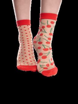 Calcetines de nailon alegres Cerezas y puntos