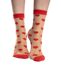 Nylon Socks Red Hearts