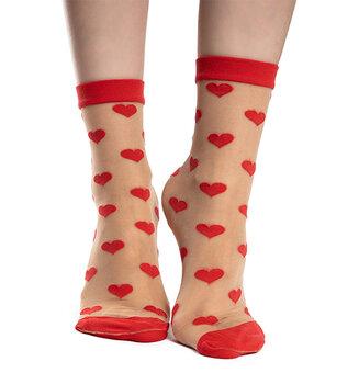 Chaussettes rigolotes en nylon Cœurs rouges