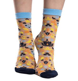 Veselé silonkové ponožky Folkové ornamenty