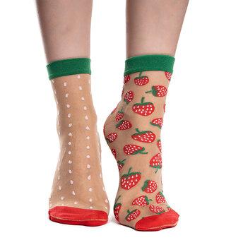 Veselé silonkové ponožky Jahody