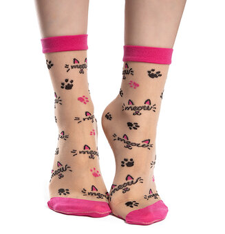 Veselé silonkové ponožky Mňau