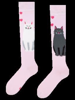 Vidám térdzokni Fekete és fehér macska