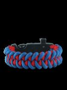 Blau-rotes Paracord Armband mit Feuerschläger, Kompass und Pfeife Shark