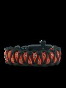 Narancssárga-fekete paracord karkötő tűzcsiholóval, iránytűvel és síppal Inachis