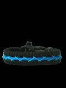 Modro-čierny paracord náramok Track s kresadlom, kompasom a píšťalkou