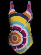 Lustiger einteiliger Badeanzug für Frauen Spritzende Kreise