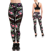 Damen Sport Netz Leggings Tropische Blumen