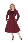 Damen Vintage Mantel mit Knöpfen Weinrot