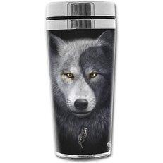 Thermobecher mit dem Motiv Wolfsgesicht