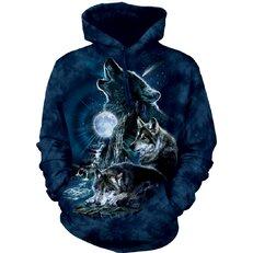Sweatshirt mit Kapuze Wölfe heulen den Mond an