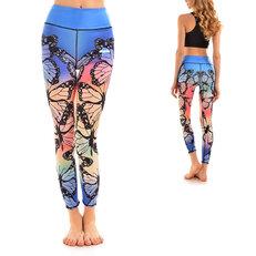 Ladies' Elastic Sport Leggings -Rainbow Butterflies