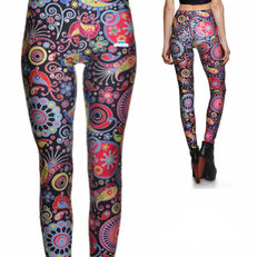 Ladies' Elastic Leggings Colourful Circles