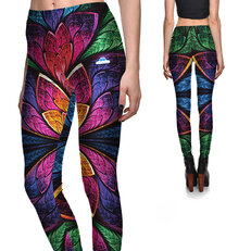 Ladies' Elastic Leggings Flower Petals