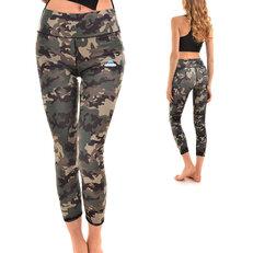 Női sportos elasztikus leggings Terepmintás motívum