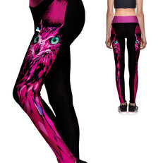Ladies' Sport Elastic Leggings Pink Owl