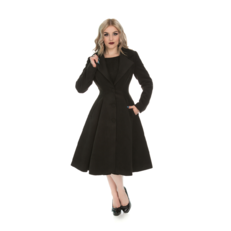 Čierny dámsky retro kabát s gombíkmi