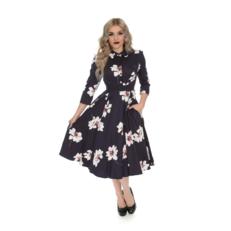 Retro pin up šaty s rukávem Květový sen