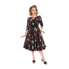 Retro pin up šaty s rukávom Modré a červené kvety