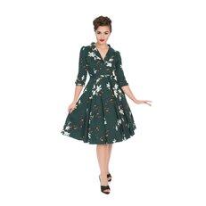 Zelené retro pin up šaty s rukávemLílie