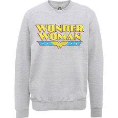Šedá mikina bez kapuce DC Comics Wonder Woman Logo Crackle