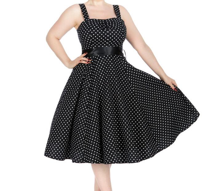 Čierne bodkované retro pin up šaty
