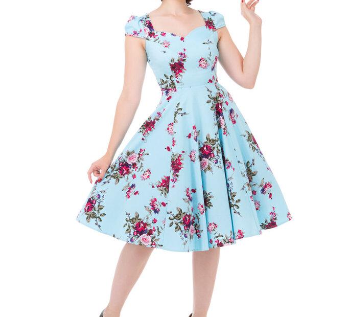 Blaues Vintage Pinup Kleid Rosa Rosen