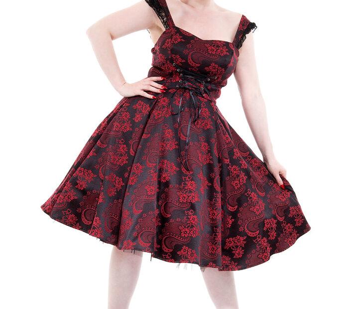 Rochie roşu cu negru  retro gotică cu flori