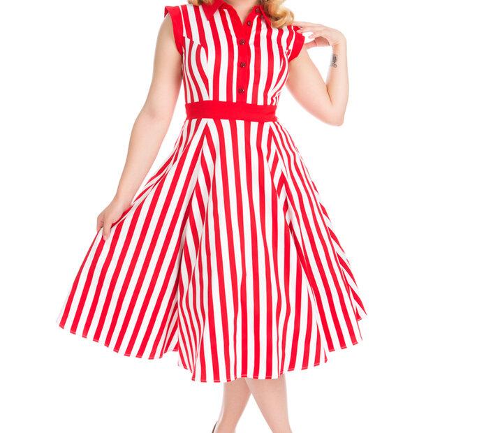 Červeno-biele pásikavé retro pin up šaty