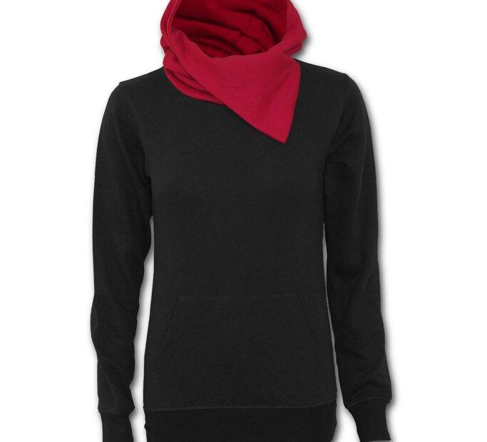 new concept f2bac e34d9 Damen Sweatshirt mit rotem Kragen Schwarz | Dedoles