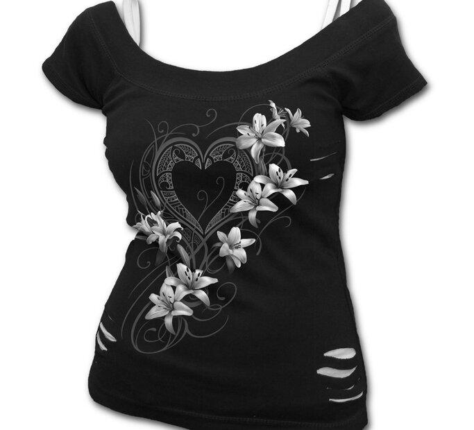 Tricou damă 2 în 1 Flori albe