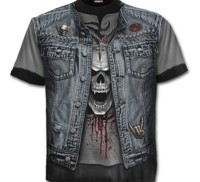Tričko plus size Riflová vesta