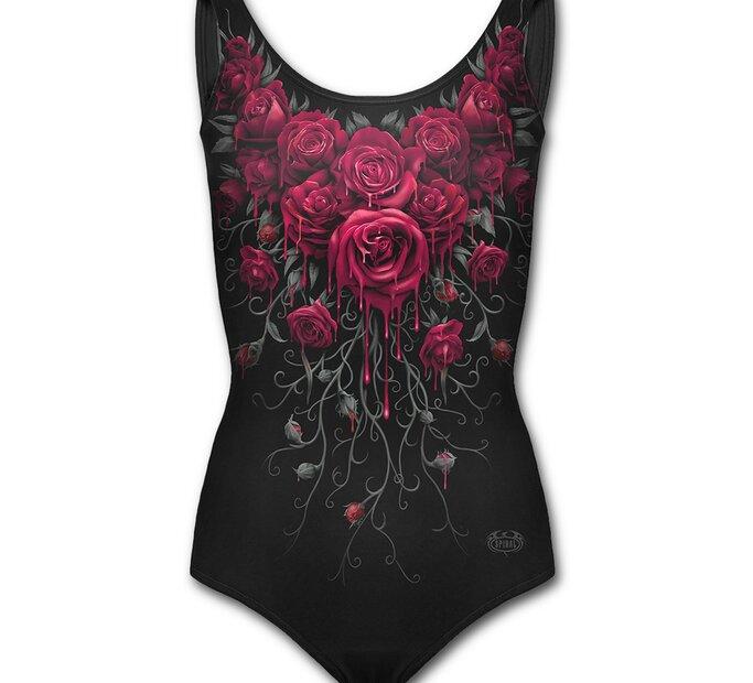 Dámske plavky celé s motívom Krvavé ruže