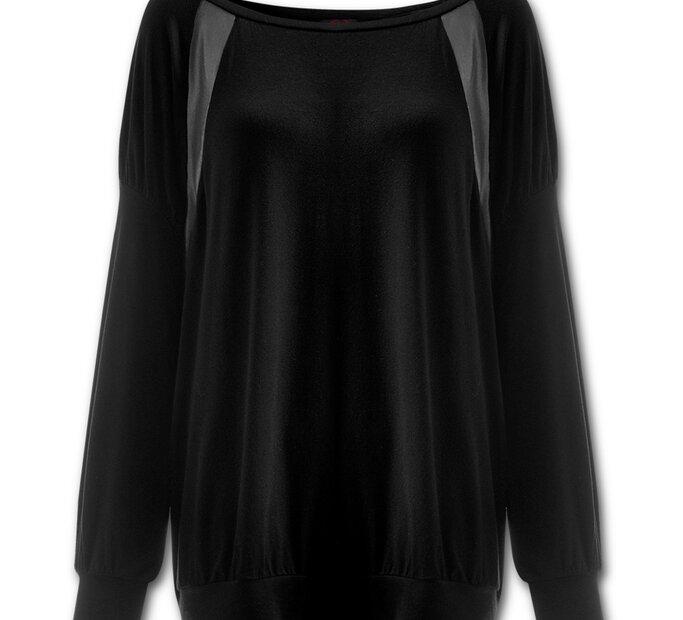 Tricou negru damă lejer cu imitaţie de piele