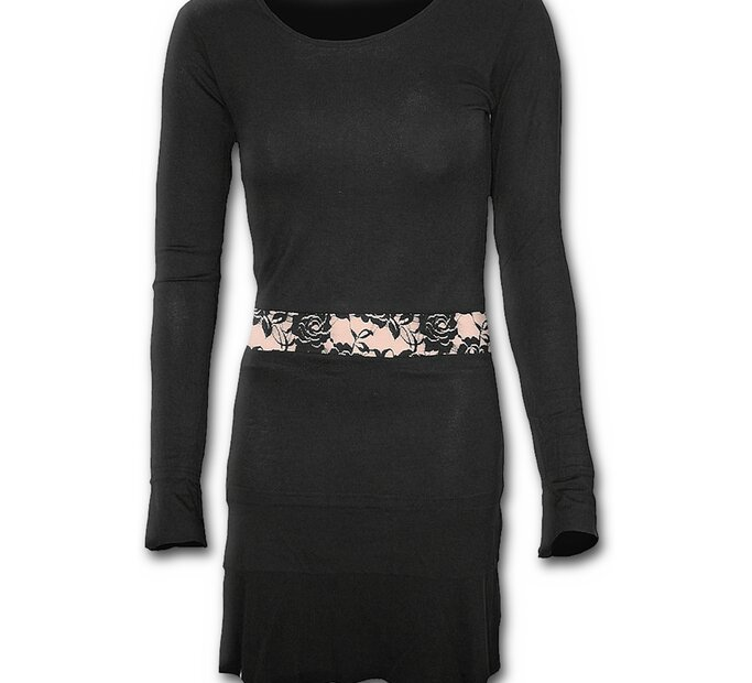Black Short Dress with Long Sleeve and Lace Appliqué