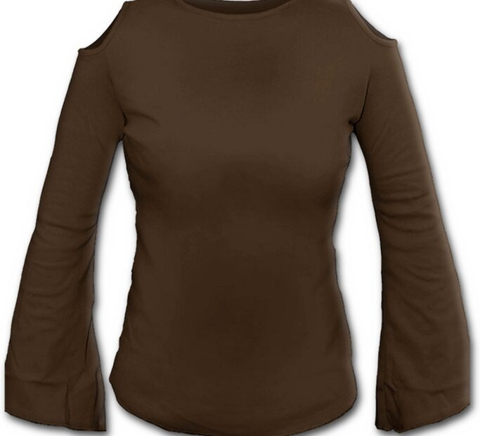 Hnedé dámske tričko s zvonovými rukávmi