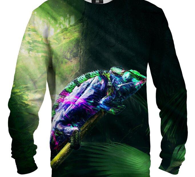 Sweatshirt ohne Kapuze Bunter Chamäleon